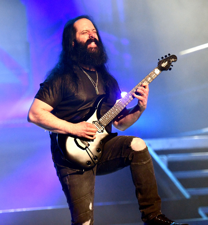 LOS ANGELES, CALIFORNIA - MARCH 22: Guitarist John Petrucci, founding member of the band Dream Theater, performs onstage during the 'Distance Over Time' Tour at The Wiltern on March 22, 2019 in Los Angeles, California. (Photo by Scott Dudelson/Getty Images)
