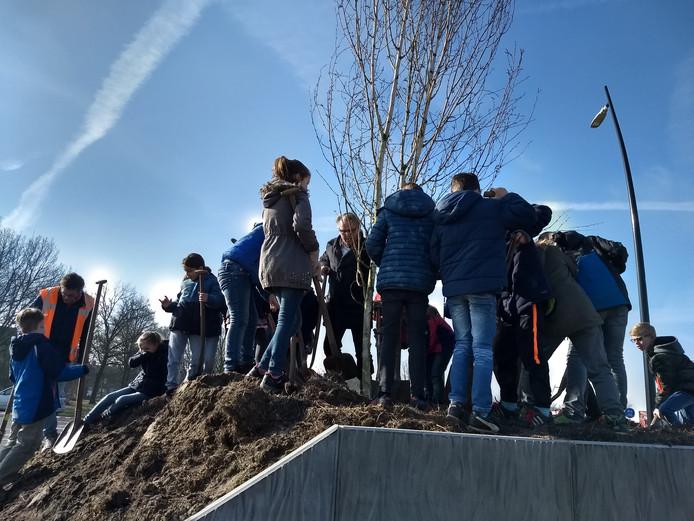 Kinderen van Den Bongerd  mochten mee witte berken planten.