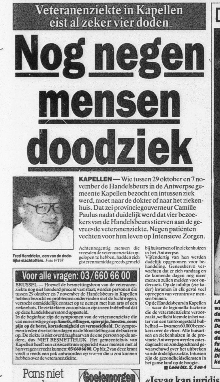 Het artikel over de vier legionelladoden in onze krant van 15 november 1999. Net als bij Evergem nu, was er een speciaal noodnummer.
