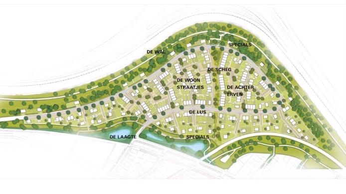 Kaartje van de nieuwe wijk Blixembosch Het Plateau in Eindhoven. De groene kromme is de nieuwe geluidswal tegen de A50/Kennedylaan aan.