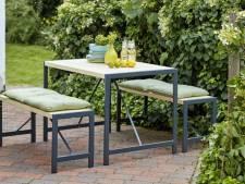 Deze vijf picknicktafels sieren de achtertuin