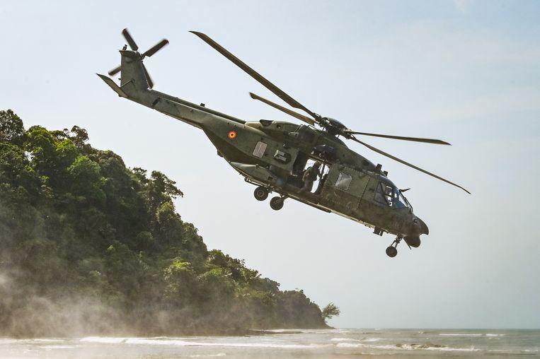 Een NH90 TTH van het Belgische leger tijdens de oefening 'Tropical Storm' in december 2019 in Gabon.