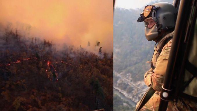 Straffe beelden: Gevechtshelikopter blust mee bij bosbranden Californië