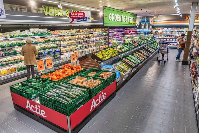 De Aldi-supermarkt aan de Zandheuvel, in het pand waar voorheen de Boerenbond zat.