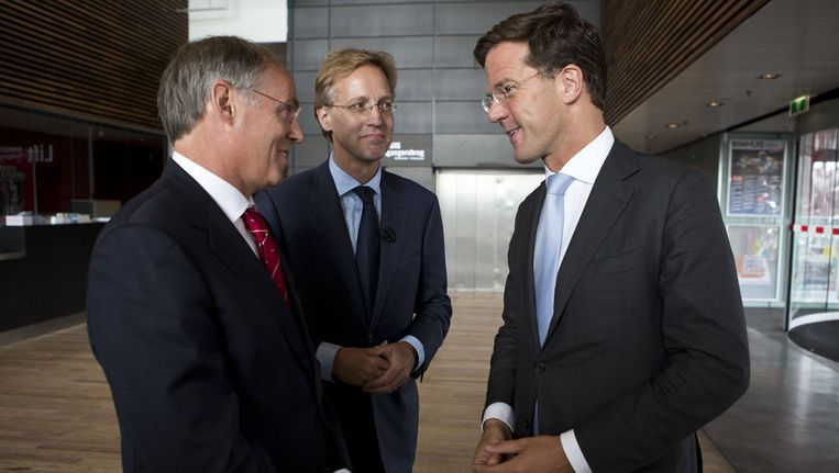 Robbert Dijkgraaf (M), premier Mark Rutte en Hans Clevers (L) Beeld anp