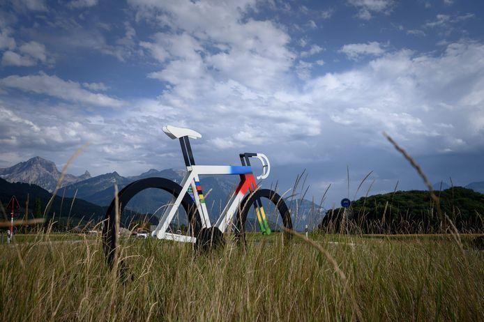Een fiets in Aigle, waar het WK plaats zou vinden.
