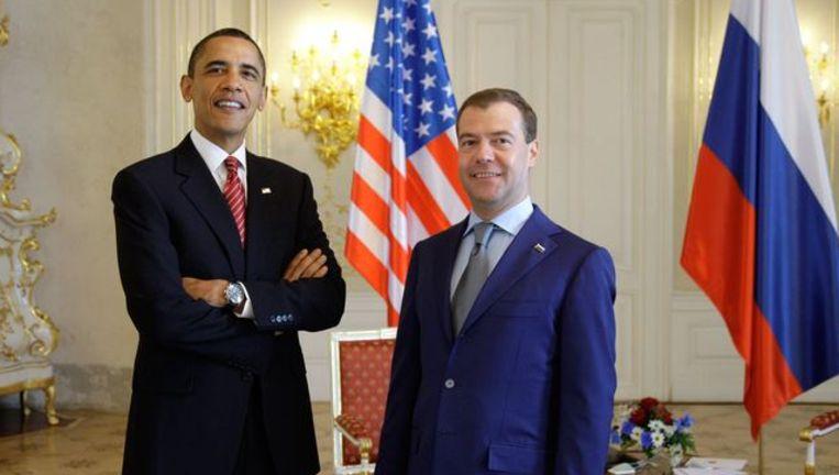 De Amerikaanse president Barack Obama met zijn Russische collega Dmitri Medvedev.