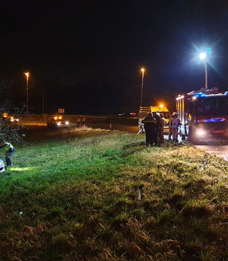 Auto vliegt uit de bocht op A1 bij Bornerbroek