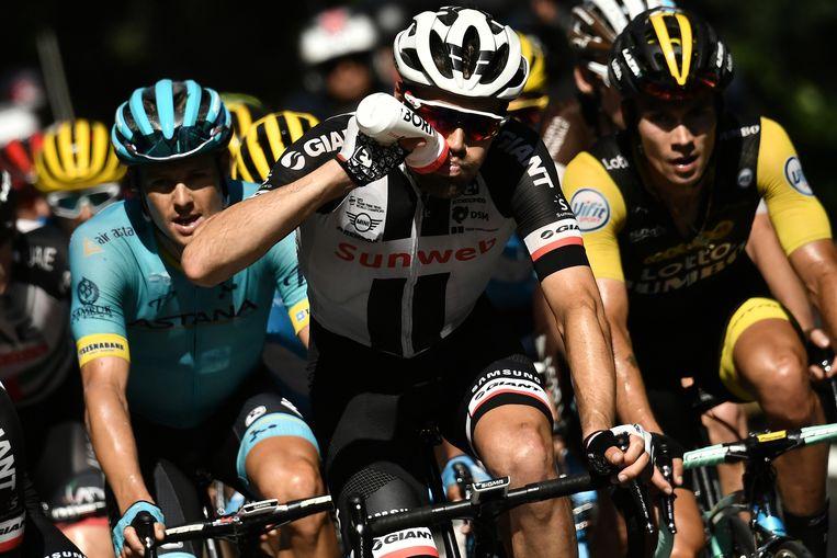 Tom Dumoulin tijdens de zestiende etappe van de Tour op 24 juli 2018.  Beeld AFP