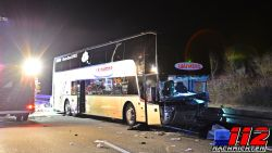 Belgische bus vol buschauffeurs betrokken bij ongeval met spookrijder nabij Duitse stad Mainz