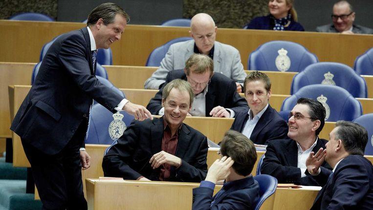 Alexander Pechtold bij de fractie van de SP, gisteren tijdens het vragenuurtje. Beeld anp