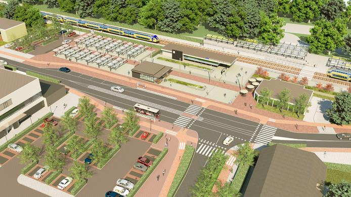 In de plannen voor het Stationsplein Etten-Leur staat (rechtsmidden) een horecabedrijf met groot terras ingetekend op de plek waar nu nog restaurant Mei Wah draait.