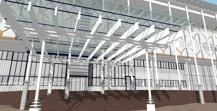 Dit is het derde en laatste ontwerp voor een naar voren uitstekende entree van het stadhuis. Maar ook dat voldoet niet aan de eisen. Dan maar een eenvoudige entree, zo heeft de gemeente Apeldoorn besloten.