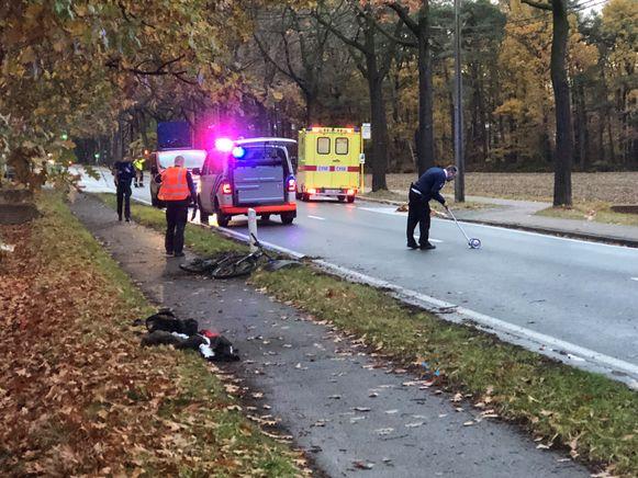 11 november 2018: De politie doet vaststellingen na het ongeval.