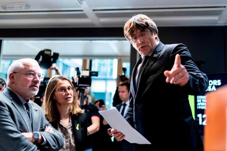 Carles Puigdemont gaf vandaag een persconferentie in Brussel.