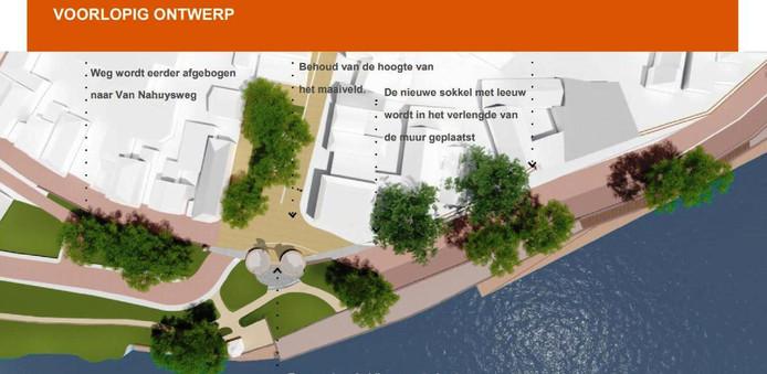 In het najaar wordt begonnen met de voorbereidingen voor de herbouw van de Veerpoort met werkzaamheden op de kruising van het Burgemeester Royerplein (midden) met de Van Nahuysweg, Justitie Bastion (links) en de Kaai (rechts).