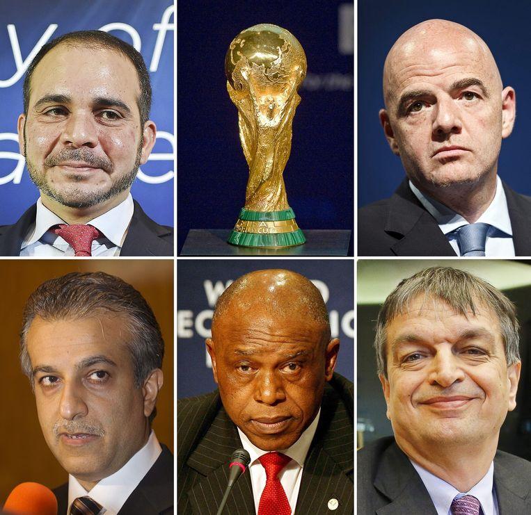 De kandidaten voor de positie van Fifa-topman. Van linksboven met de klok mee: prins Ali, Gianni Infantino, Jérôme Champagne, Tokyo Sexwalle en Sjeik Salman. Beeld Afp
