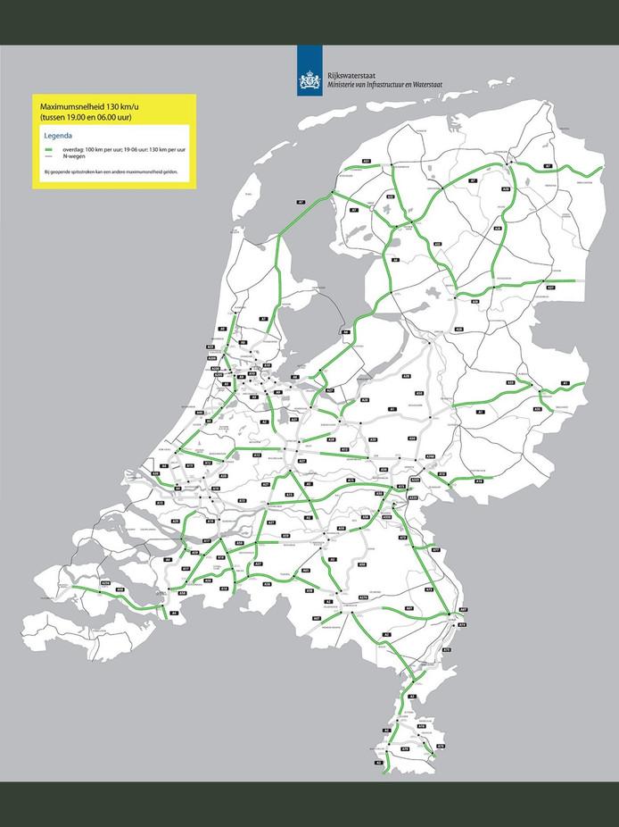 Op deze kaart is te zien op welke wegen je 's nachts 130 mag rijden