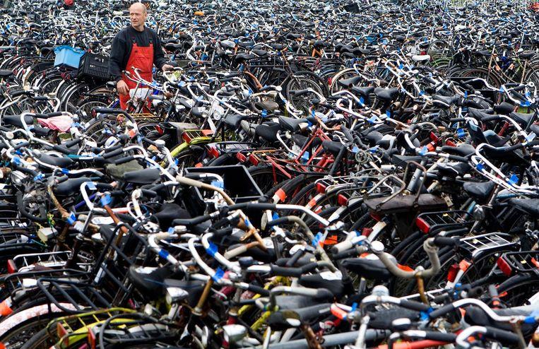 Duizenden weesfietsen in het fietsendepot. Beeld anp