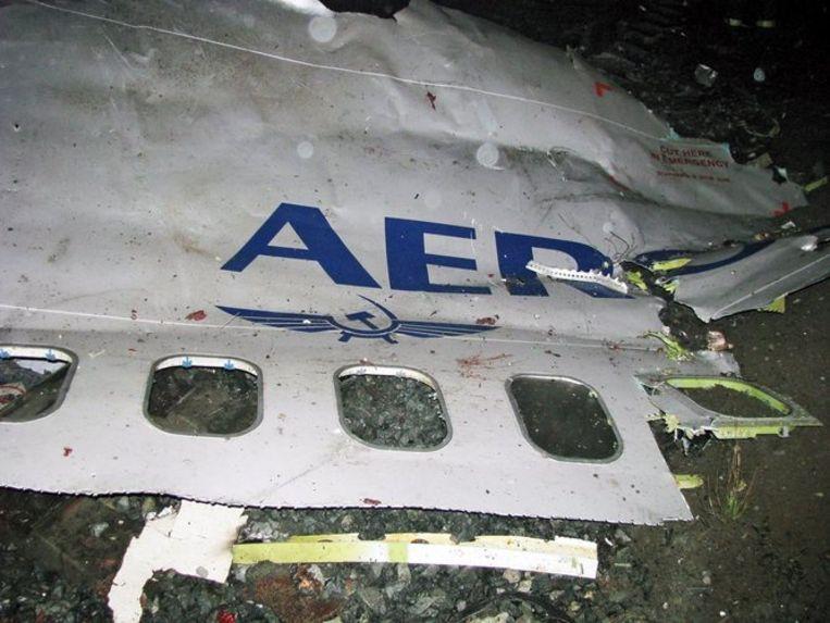 De gecrashte 737 bij Perm. FOTO EPA/Alexei Zhuravlev Beeld