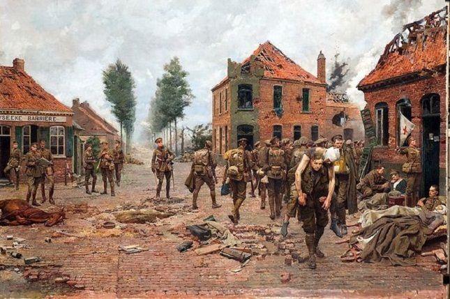 Het schilderij 'The Menin Crossroads' toont hoe Tandey een gewonde soldaat op de rug draagt.