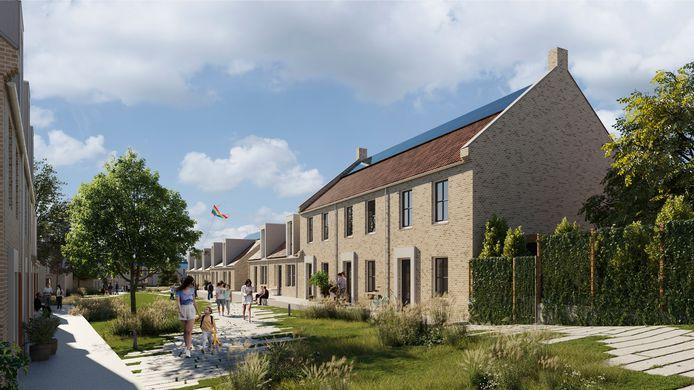De nieuwbouw van Bergse Buren op een artist impression.