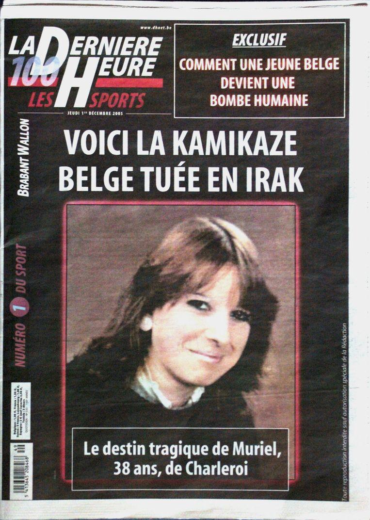 De voorpagina van de Belgische krant 'La Derniere Heure Les Sports', met een foto van Muriël Degauque. Beeld afp