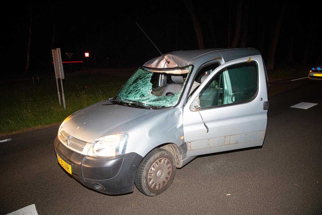 De aanrijding met de ree leverde forse schade op aan de auto. Het dier overleefde het bovendien niet.