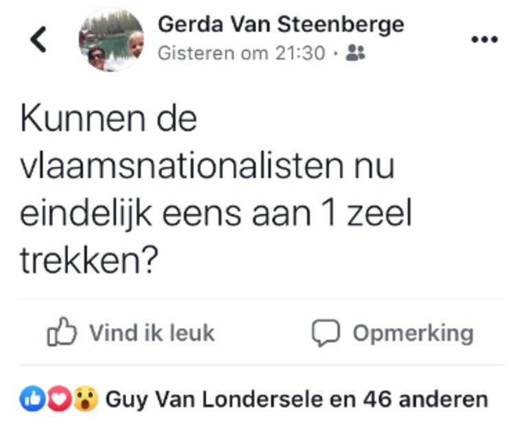 Schepen Gerda Van Steenberge (N-VA) stuurde zondagavond dit bericht via Facebook de wereld in.