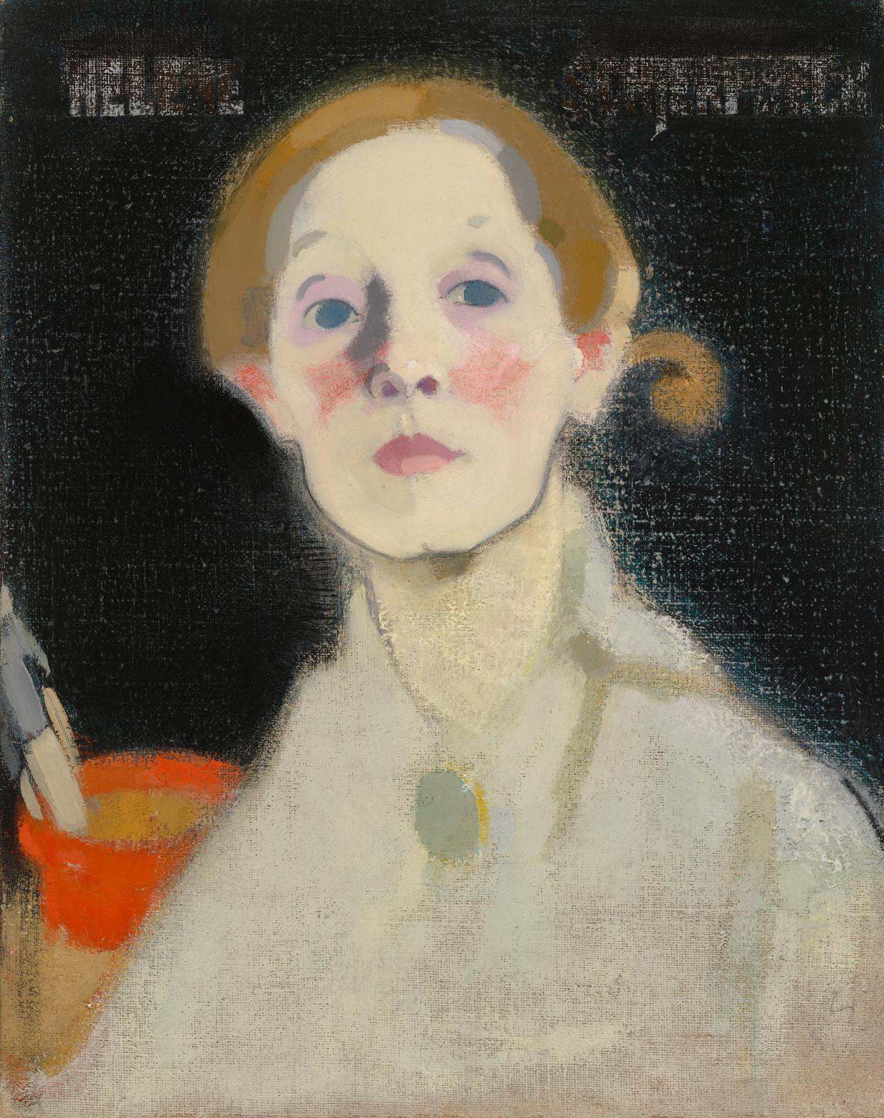 Helene Schjerfbecks 'Zelfportret met zwarte achtergrond', 1915. Beeld Finnish National Gallery  Ateneum Art Museum, Helsinki. The Hallonblad Collection.