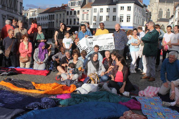 Het Vluchtelingenplatform organiseerde zaterdag nog een actie voor betere huisvestiging voor vluchtelingen.