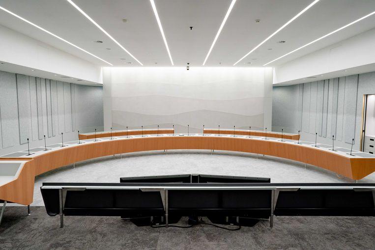 Een commissiezaal in het nieuwe onderkomen van de Tweede Kamer. Beeld ANP