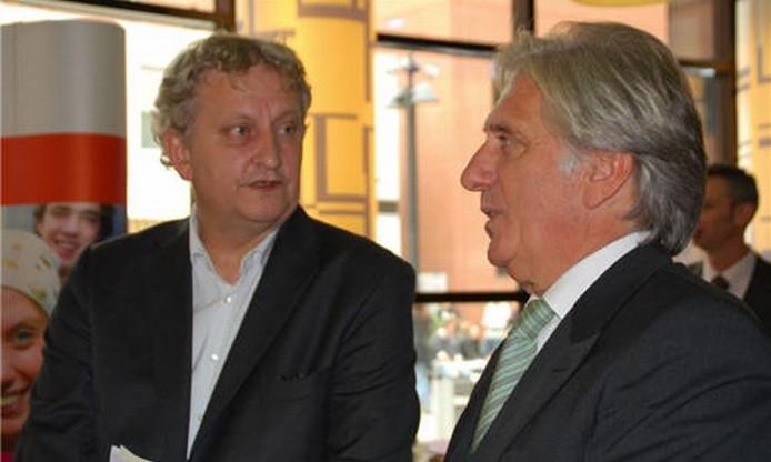 Lein Labruyere (r) met burgemeester van Amsterdam Eberhard van der Laan