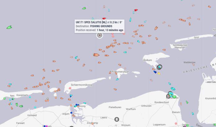 De UK 171 is omgeslagen op de Noordzee.