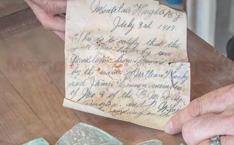 Het briefje was gedateerd op 3 juli 1907.