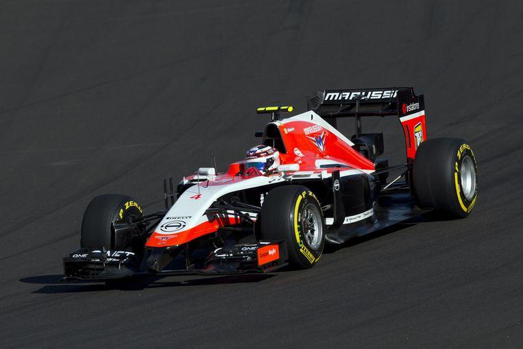 Een bolide van Marussia tijdens de GP van Rusland. Beeld ap