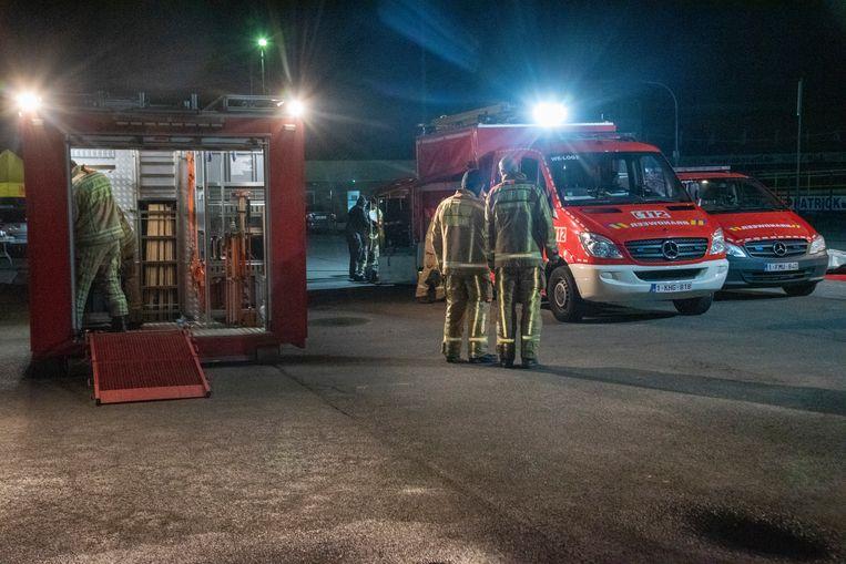 De oefening vond plaats op de parking Safti in Wetteren.