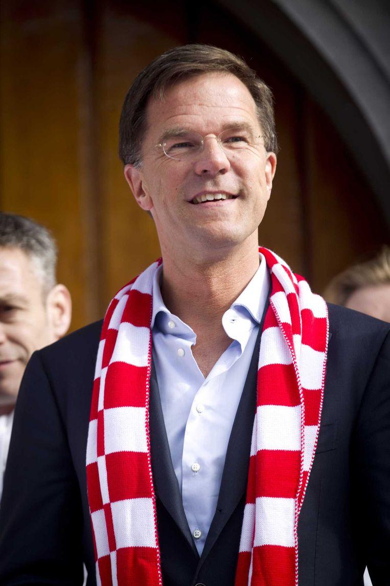 Rutte bij de campagne-aftrap van de VVD in Breda. Beeld null