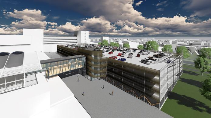 De nieuwe parkeergarage Bisonspoor op de plek van parkeerplaats P1.