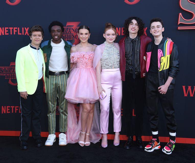 Gaten Matarazzo, Caleb McLaughlin, Millie Bobby Brown, Sadie Sink, Finn Wolfhard en Noah Schnapp: de cast van 'Stranger Things'.