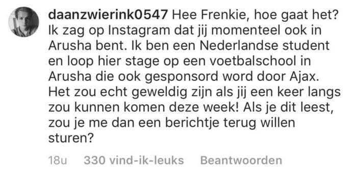 De uitnodiging die Daan onder de foto van Frenkie de Jong plaatste.
