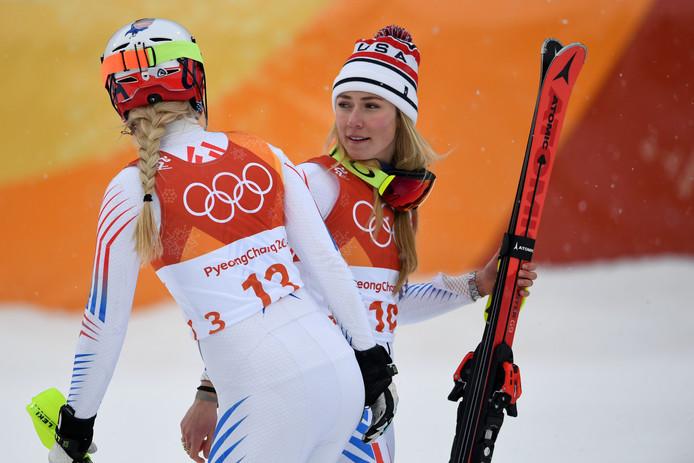 Lindsey Vonn (l) en Mikaela Shiffrin.
