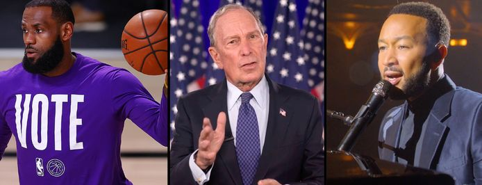 LeBron James, Michael Bloomberg en John Legend.