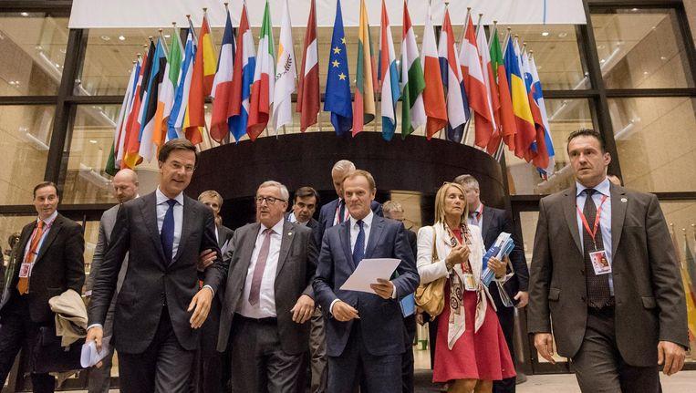 Premier Mark Rutte, Donald Tusk en Jean-Claude Juncker in Brussel. Beeld anp