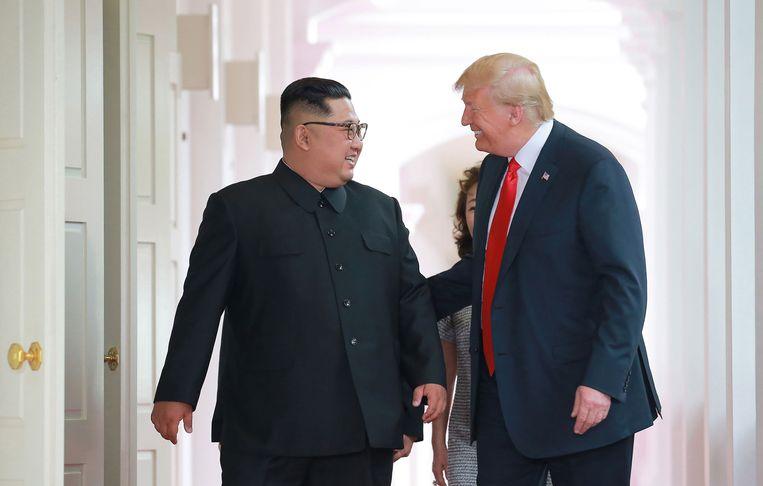 Kim en Trump op weg naar de top in Singapore Beeld AFP