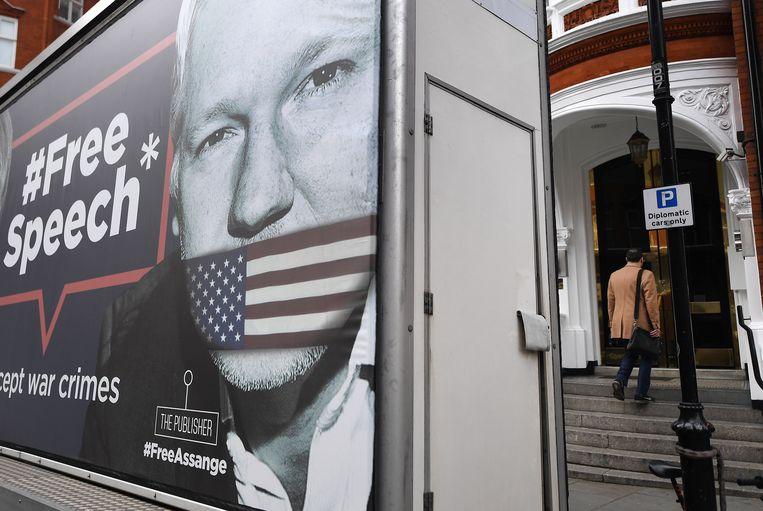 De ambassade van Ecuador in Londen, waar Assange sinds 2012 zat. Beeld EPA