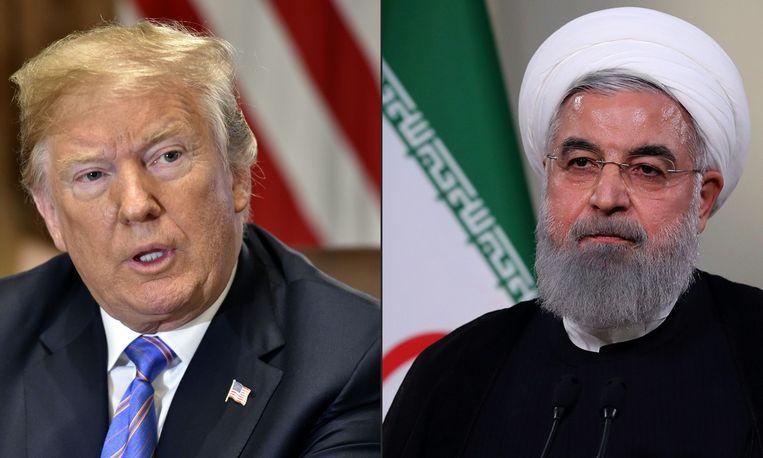 De Amerikaanse president Donald Trump en de Iraanse president Hassan Rouhani.