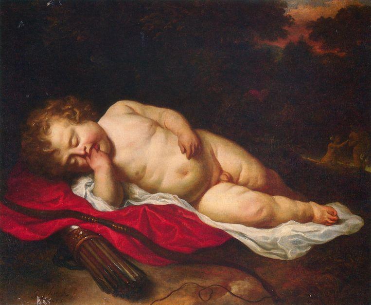 Slapende cupido van Ferdinand Bol (28x21 cm), uit een particuliere collectie. Beeld -