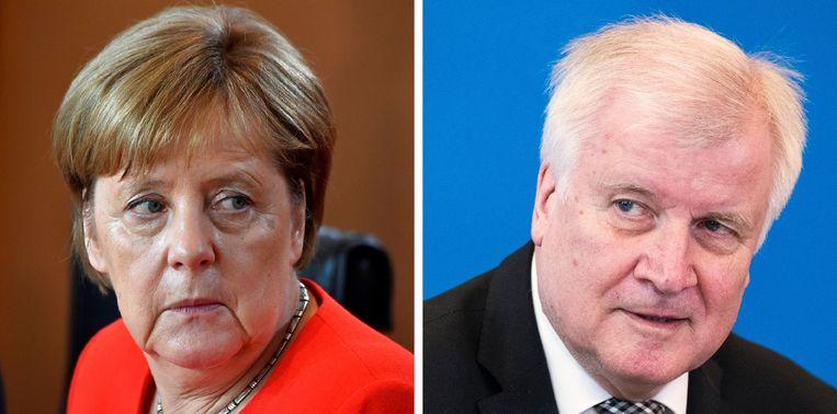 Bondskanselier Angela Merkel en Horst Seehofer.