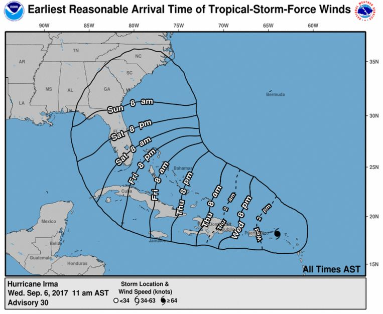 Het verwachte pad van orkaan Irma. De tijden op de afbeelding zijn AST, in Nederland is het zes uur later. Beeld National Hurricane Center